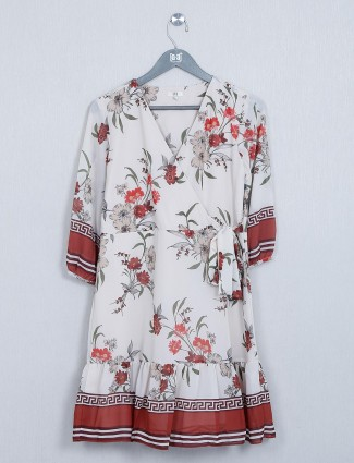 AND cream georgette western top for women