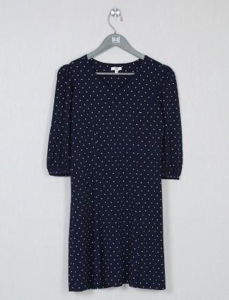 AND navy blue polka dot dress for women