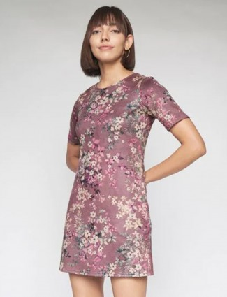 AND onion pink Printed lycra cotton casual Dress