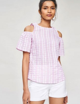 AND Pink Striped Fit And Flare Top