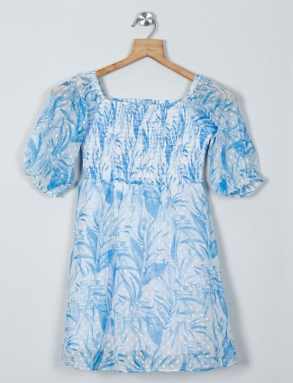 AND printed blue color dress in cotton fabric