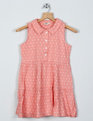 AND printed peach cotton dress for girls