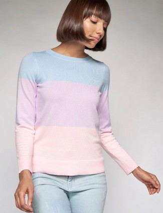 AND sky blue knitted casual top for stylish women