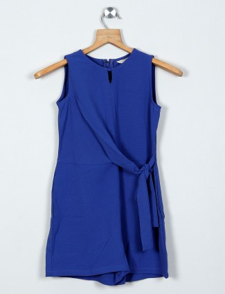 AND solid blue dress for casual wear