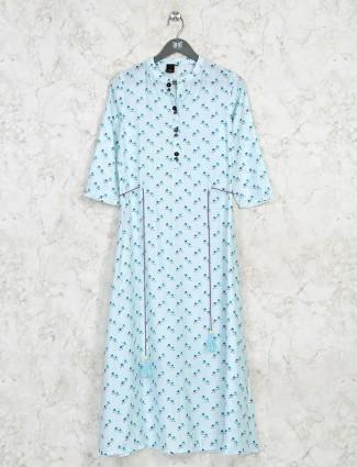Aqua blue casual cotton kurti