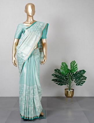 Aqua blue cotton festive wear saree for women