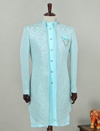 Aqua blue silk textured indo western suit for wedding