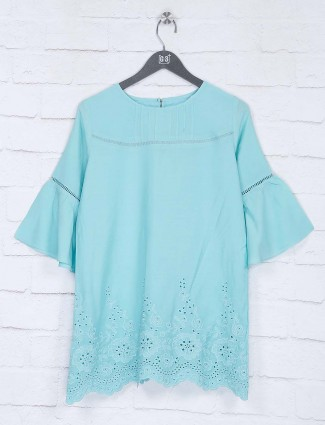 Aqua color round neck top in cotton