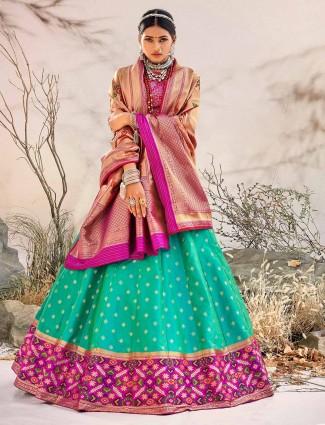 Aqua colour wedding unstitched lehenga in silk