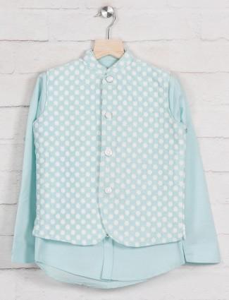 Aqua cotton boys waistcoat shirt