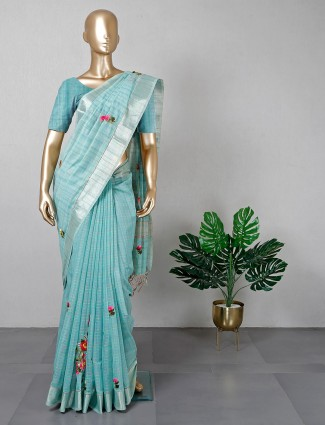 Aqua cotton fabric festive wear saree for women