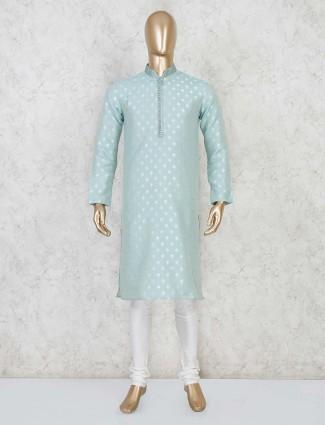 Aqua cotton kurta suit for festive