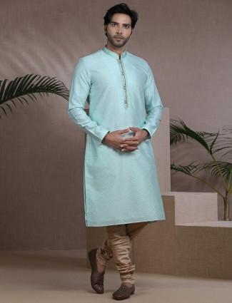 Aqua cotton silk kurta pajama for festive