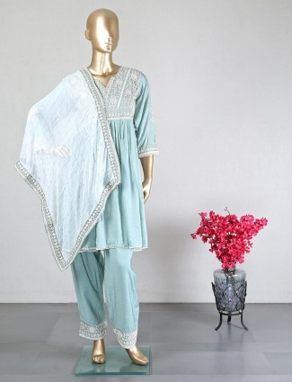 Aqua cotton silk palazzo suit for wedding
