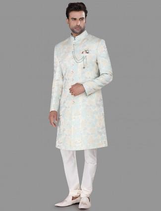 Aqua festive wear silk indo western
