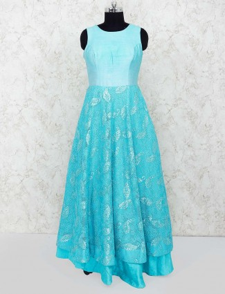 Aqua hue party floor length gown