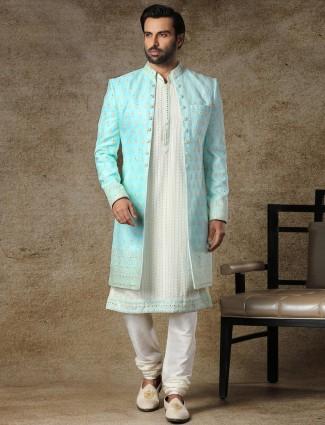 Aqua jacket style indo western for wedding function