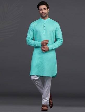 Aqua linen stand collar kurta pajama
