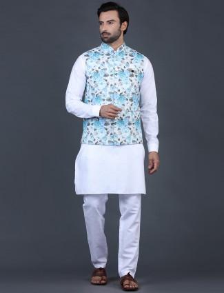 Aqua nad white cotton silk waistcoat set party wear