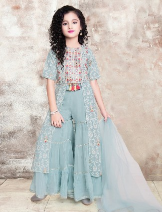 Aqua palazzo suit for little girls in georgette
