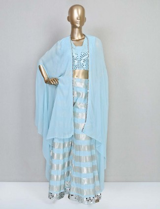 Aqua palazzo suit for women in cotton silk