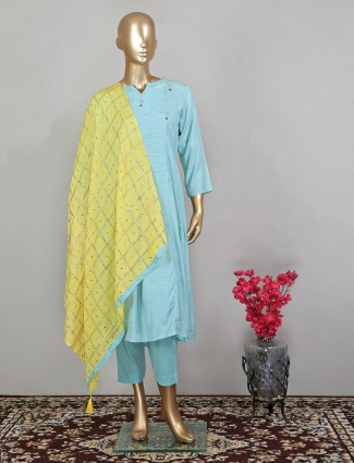 Aqua shade stunning pant suit in cotton with odhani
