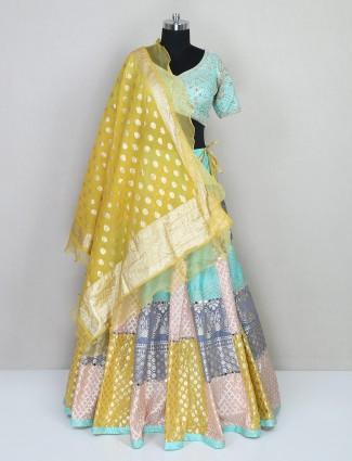 Aqua silk wedding special lehenga choli