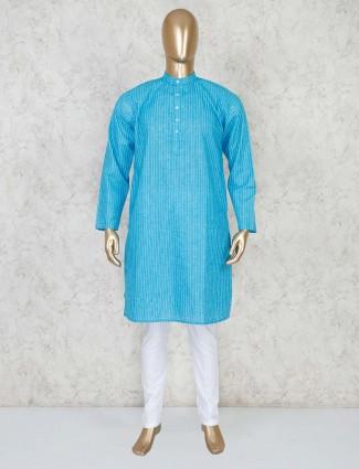 Aqua stand collar stripe kurta suit