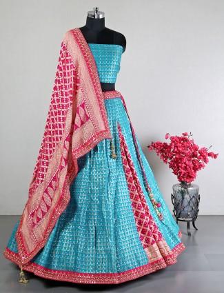 Aqua wedding wear silk lehenga choli