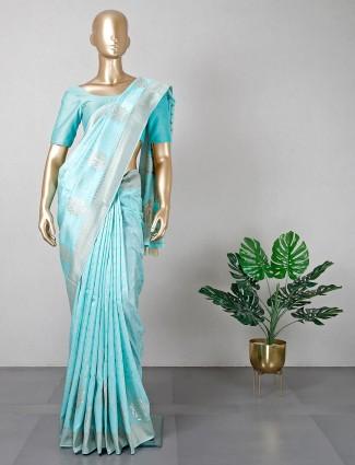 Aqua wedding wear silk saree