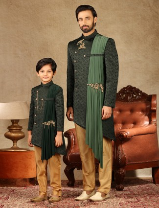 Asthetic bottle green satin silk indo western for father and son