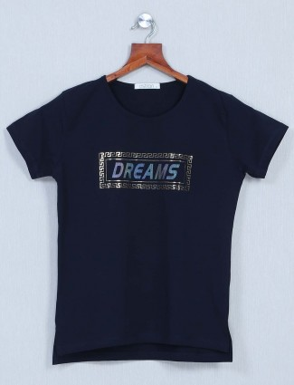Astron Cotton casual top for women in navy