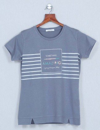 Astron grey casual top in cotton for women