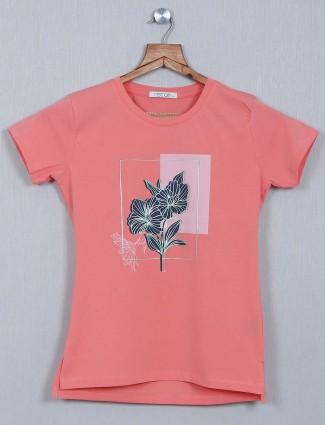 Astron Peach cotton printed top