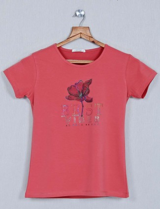 Astron pink printed casual wear top