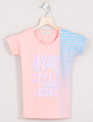 Astron peach printed cotton casaul events for top