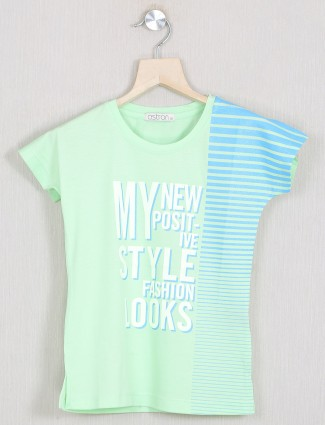 Astron pista green printed casual wear top for little girls