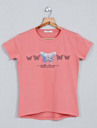 Astron Printed cotton peach casual top for women