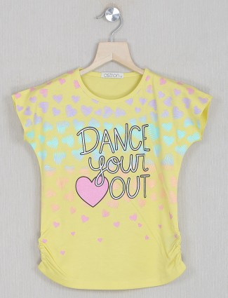 Astron printed yellow top in cotton