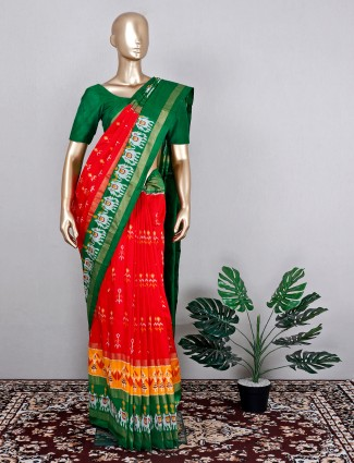 Attractive red patola silk for wedding event