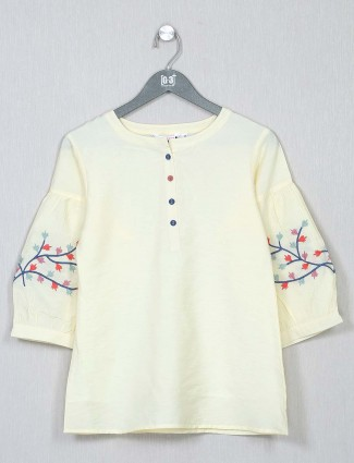 Attractive yellow cotton casual wear top
