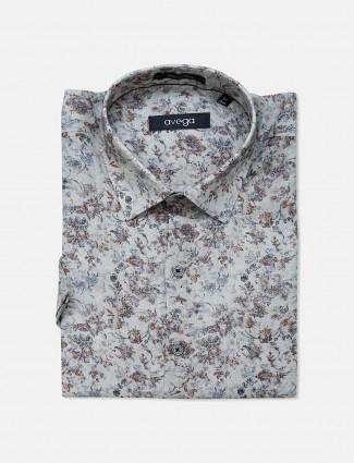 Avega grey color printed linen shirt