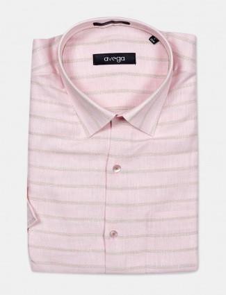 Avega half sleeves pink printed linen shirt