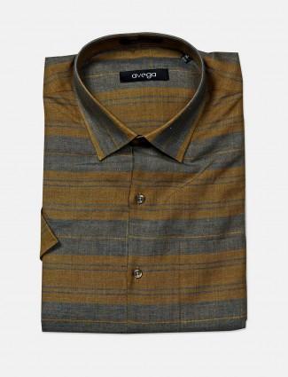 Avega olive stripe pattern cotton shirt