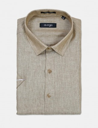 Avega presented solid khaki linen shirt