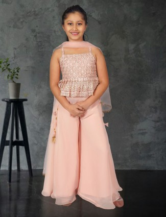 Baby pink georgette punjabi palazzo suit for girls