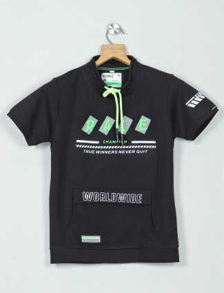 Bambini black cotton printed casual t-shirt