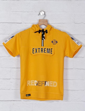 Bambini cotton yellow printed t-shirt