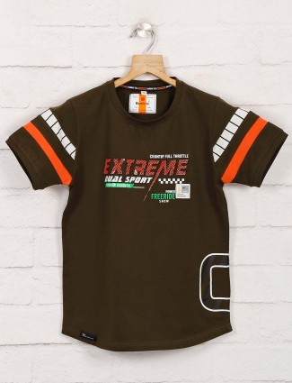 Bambini dark olive printed t-shirt