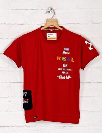 Bambini maroon printed t-shirt